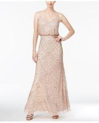 Adrianna Papell Metallic Spaghetti-Strap Beaded Blouson Gown