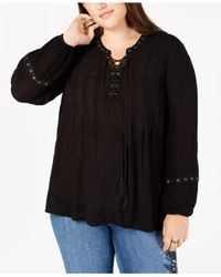 Style & Co. Black Plus Size Lace-up Crochet-trim Peasant Top, Created For Macy