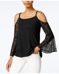 Kensie | Black Cold-shoulder Lace-sleeve Top | Lyst