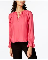 ff843956580664 Lyst - Trina Turk Magnolia Silk Peasant Blouse in Pink