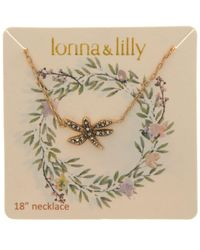 Lonna & Lilly - Metallic Gold-tone Dragonfly Pendant Necklace - Lyst