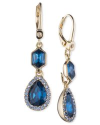 Ivanka Trump Blue Gold-tone Pavé & Colored Stone Drop Earrings