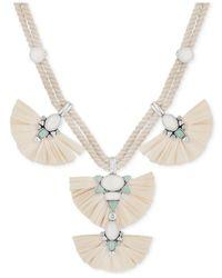"Lucky Brand - Metallic Silver-tone Multi-stone Raffia Braided Cord Statement Necklace, 17-1/2 + 2"" Extender - Lyst"