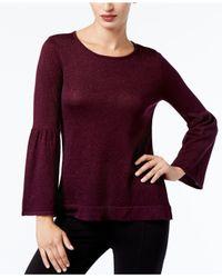 Calvin Klein - Purple Bell-sleeve Sweater - Lyst