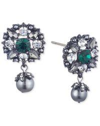 Marchesa Multicolor Hematite-tone Crystal & Imitation Pearl Filigree Drop Earrings