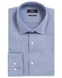 BOSS Blue Men's Slim-fit Gingham Cotton Dress Shirt for men