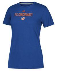 Adidas Blue Fc Cincinnati Locker Stacked Go-to Performance T-shirt