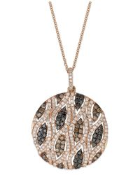 Effy Collection | Confetti By Effy White (3/4 Ct. T.w.) And Brown (5/8 Ct. T.w.) Diamond Pendant Necklace In 14k Rose Gold | Lyst