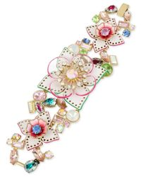 Betsey Johnson | Multicolor Gold-tone Multi-stone Floral Flex Bracelet | Lyst