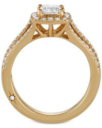 Marchesa - Metallic Celeste Halo By Princess Cut Diamond Engagement Ring (1-1/5 Ct. T.w.) In 18k White, Yellow Or Rose Gold, Created For Macy's - Lyst