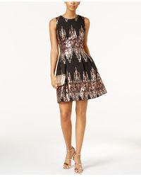 Vince Camuto Black Placed Sequins Dress