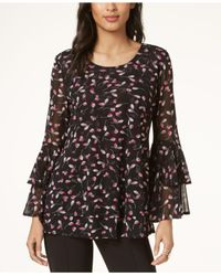 Alfani Black Printed Tiered Bell-sleeve Top, Created For Macy's