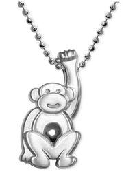 Alex Woo Metallic Little Monkey Zodiac Pendant Necklace In Sterling Silver