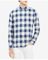 Calvin Klein Blue Long Sleeve Button Down Shirt Check Gauze for men
