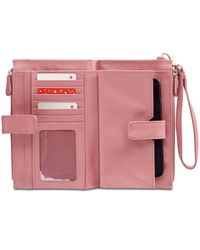 Giani Bernini Pink Softy Leather Double Zip Tech Wristlet, Created For Macy's