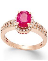 Macy's - Red Ruby (1-1/3 Ct. T.w.) And Diamond (1/4 Ct. T.w.) Ring In 14k Rose Gold - Lyst