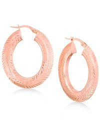 Macy's - Metallic Textured Herringbone Pattern Hoop Earrings In 14k Gold Or Rose Gold - Lyst