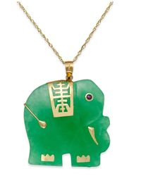 Macy's Green Dyed Jade Elephant Pendant Necklace In 14k Gold (25mm)