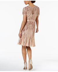 R & M Richards Pink Sash-belt Sequined Mesh Dress