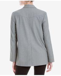 Max Studio - Gray Printed Long-sleeve Blazer - Lyst