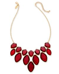 "Style & Co. Red Multi-stone Statement Necklace, 18"" + 3"" Extender, Created For Macy"