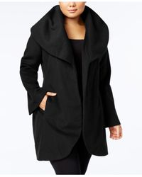 T Tahari - Black Plus Size Marla Belted Wrap Coat - Lyst
