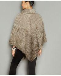 The Fur Vault - Gray Knitted Mink Fur Fringe Poncho - Lyst