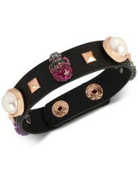 Betsey Johnson - Multicolor Rose Gold Skull Leather Bracelet - Lyst