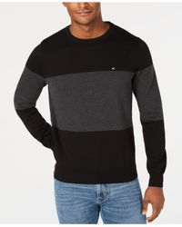 Tommy Hilfiger - Black Colorblocked Sweater, Created For Macy's for Men - Lyst