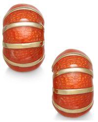 Charter Club Orange Gold-tone Blue Enamel Huggy Hoop Earrings
