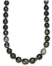 Macy's Metallic Pearl Necklace, Sterling Silver Multicolor Cultured Tahitian Pearl Baroque Strand Necklace (9-11mm)