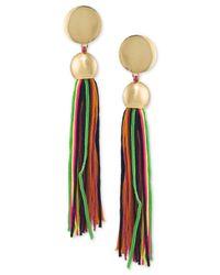 Trina Turk   Metallic Gold-tone Multicolor Tassel Drop Earrings   Lyst