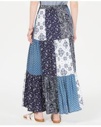 Style & Co. Blue Bandana Mixed-print Patchwork Maxi Skirt, Created For Macy's