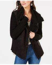 Style & Co. - Black Petite Faux-shearling Knit-sleeve Jacket, Created For Macy's - Lyst