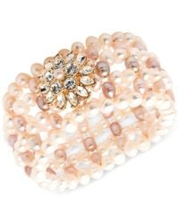 Carolee - Pink Cultured Freshwater Pearl Stretch Bracelet - Lyst