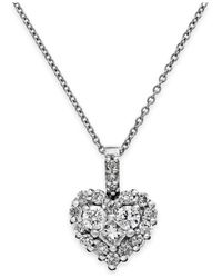 Effy Collection Diamond Heart Pendant Necklace In 14k White Gold (5/8 Ct. T.w.)