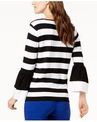 INC International Concepts - Black I.n.c. Striped Poplin-sleeve Sweater, Created For Macy's - Lyst