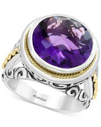 Effy Collection - Metallic Effy® Amethyst Filigree Statement Ring (7-9/10) In Sterling Silver & 18k Gold-plate - Lyst