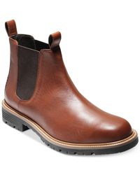 Cole Haan - Brown Grantland Waterproof Leather Chelsea Boots for Men - Lyst