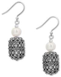 Lucky Brand - Metallic Silver-tone Pavé & Imitation Pearl Drop Earrings - Lyst