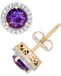 Macy's Metallic Amethyst (9/10 Ct. T.w.) & Diamond (1/8 Ct. T.w.) Halo Stud Earrings In 14k Gold