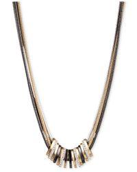 Nine West - Metallic Tri-tone Crystal Large Slider Necklace - Lyst