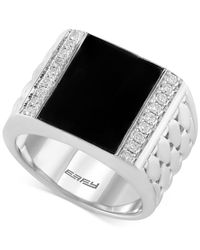 Effy Collection | Black Men's Onyx (4-9/10 Ct. T.w.) And Diamond (3/10 Ct. T.w.) Woven Ring In Sterling Silver for Men | Lyst