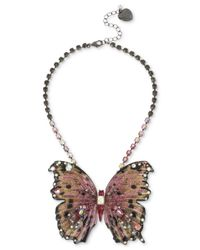 "Betsey Johnson - Pink Hematite Tone Glitter & Stone Large Butterfly Statement Necklace, 16"" + 3"" Extender. - Lyst"