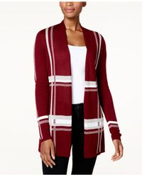 Charter Club - Red Lightweight Plaid Open-front Cardigan - Lyst