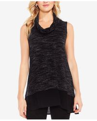 Vince Camuto - Black Layered-look Space-dyed Tunic - Lyst