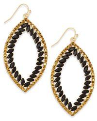 INC International Concepts | Black Gold-tone Pavé & Jet Stones Open Drop Earrings | Lyst