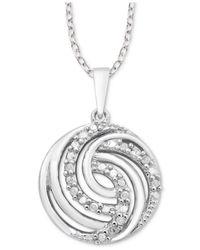"""Macy's Metallic Diamond Swirl 18"""" Pendant Necklace (1/10 Ct. T.w.) In Sterling Silver"""