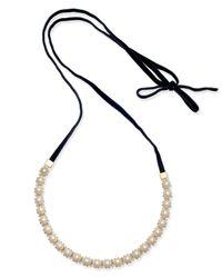 Kate Spade - Metallic Gold-tone Pavé & Imitation Pearl Black Velvet Tie Choker Necklace - Lyst