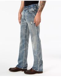 INC International Concepts Blue Gale Bootcut Jeans for men